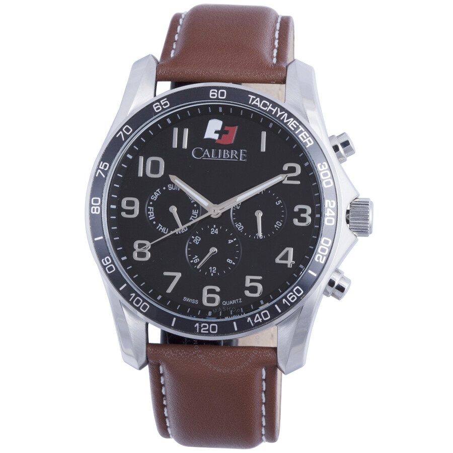 Calibre Buffalo Black Dial Brown Leather Mens Watch SC-4B1-04-007-1