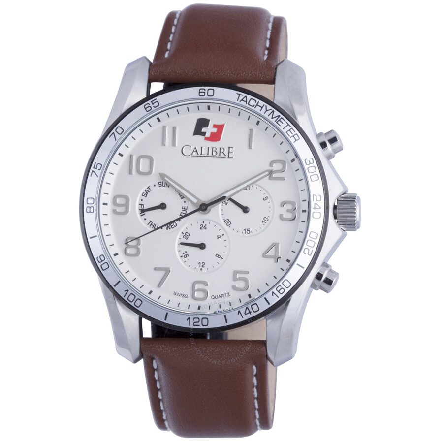 Calibre Buffalo Silver Dial Brown Leather Mens Watch SC-4B1-04-001-7