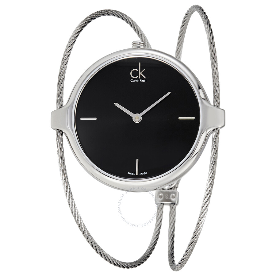 Calvin Klein Agile Black Dial Bangle Ladies Watch K2Z2S111