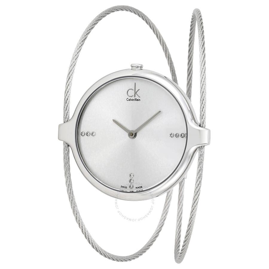 Calvin Klein Agile Silver Diamond Dial Bangle Ladies Watch K2Z2M11W