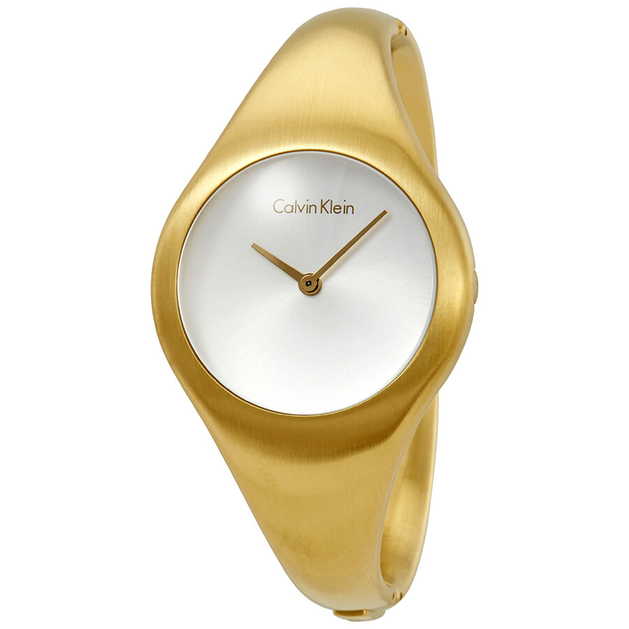 Calvin Klein Bare Silver Dial Yellow Gold PVD Ladies Watch K7G1M516