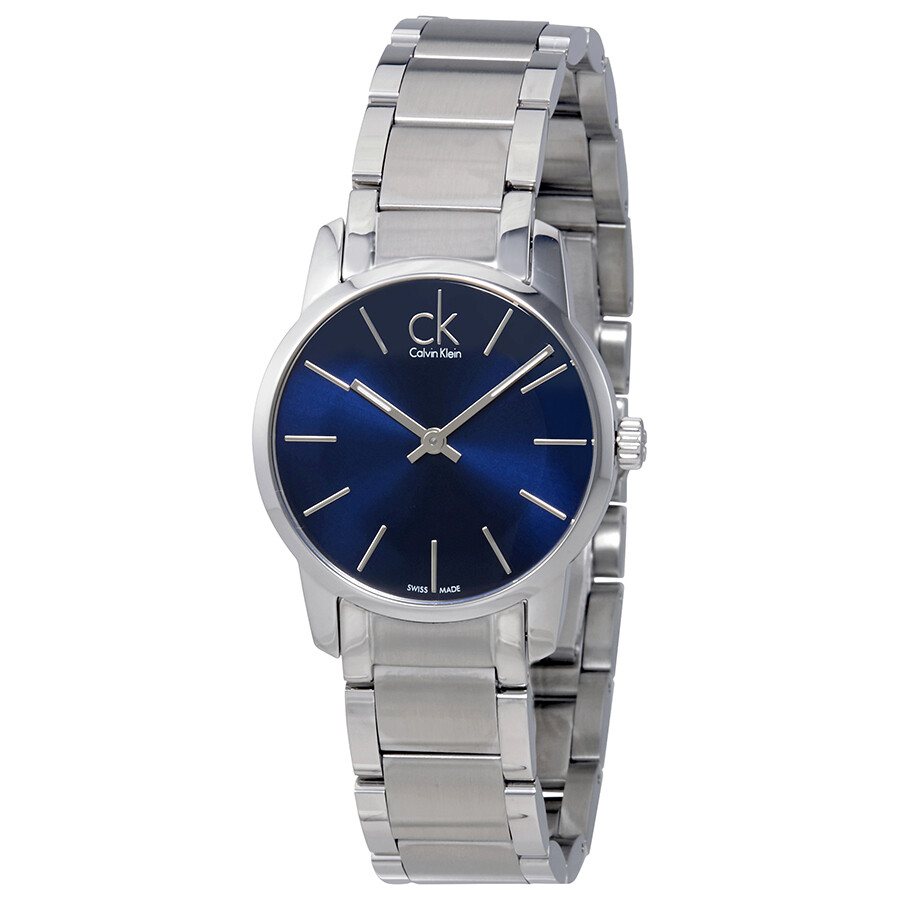 calvin klein female calvin klein city blue dial stainless steel ladies watch k2g2314n