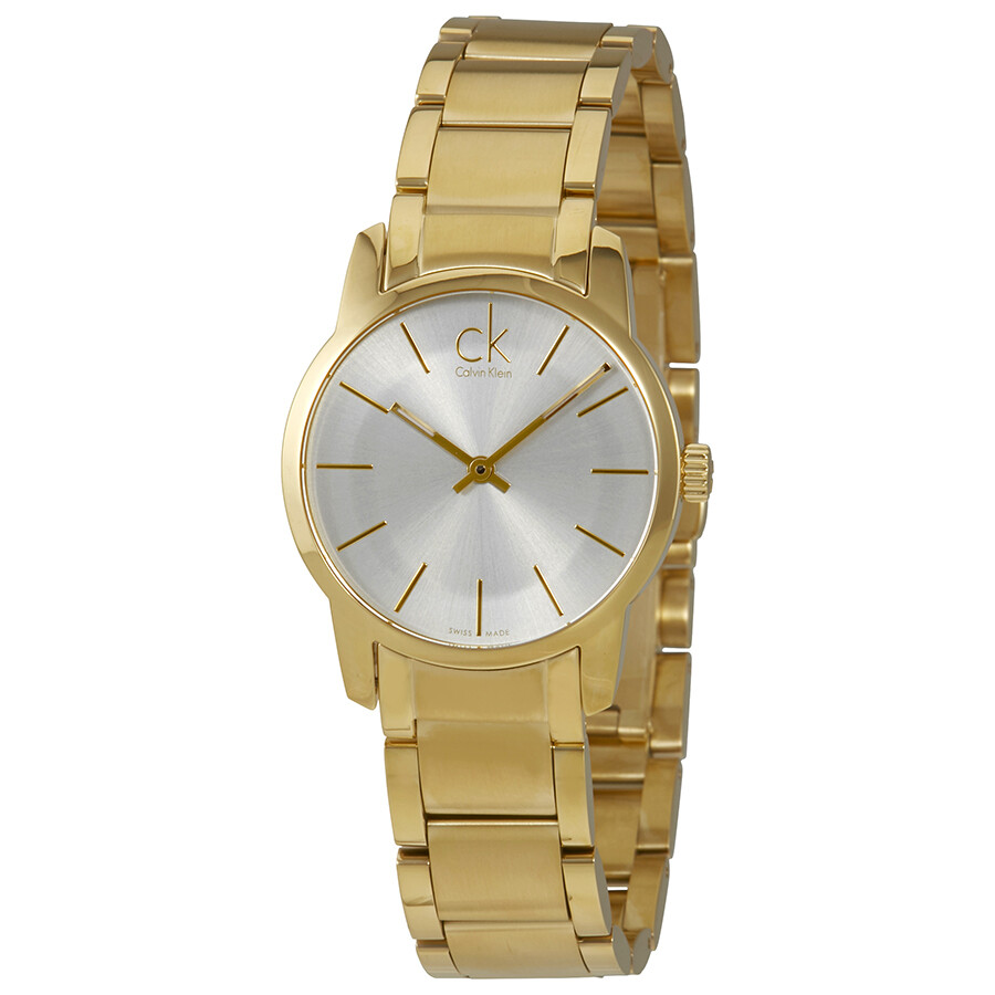 calvin klein female calvin klein city silver dial yellow goldtone ladies watch k2g23546
