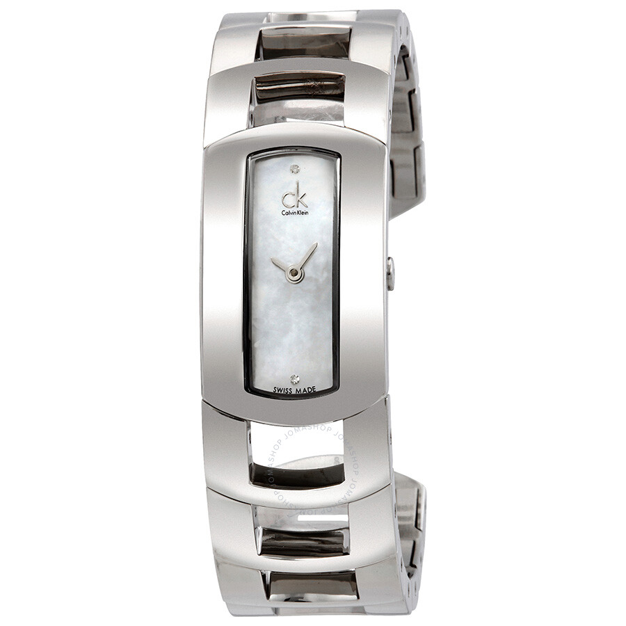 Calvin Klein Dress Mother of Pearl Diamond Dial Small Bangle Ladies Watch  K..