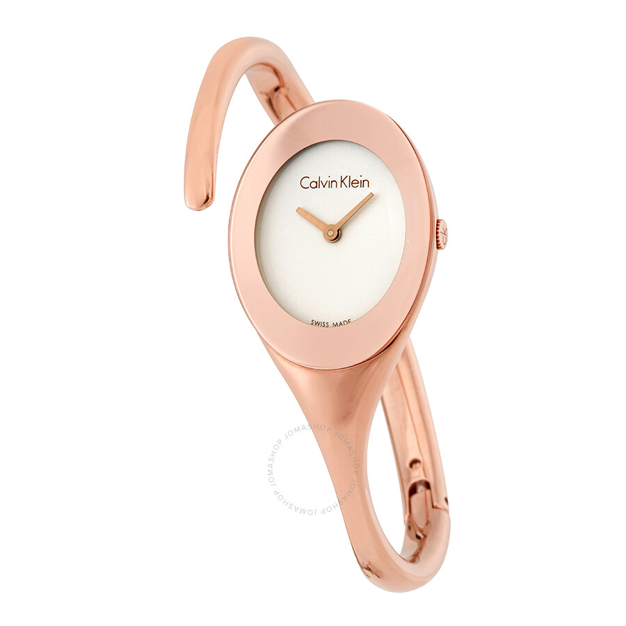 Calvin Klein Embrace White Dial Bangle Ladies Watch K4Y2L616