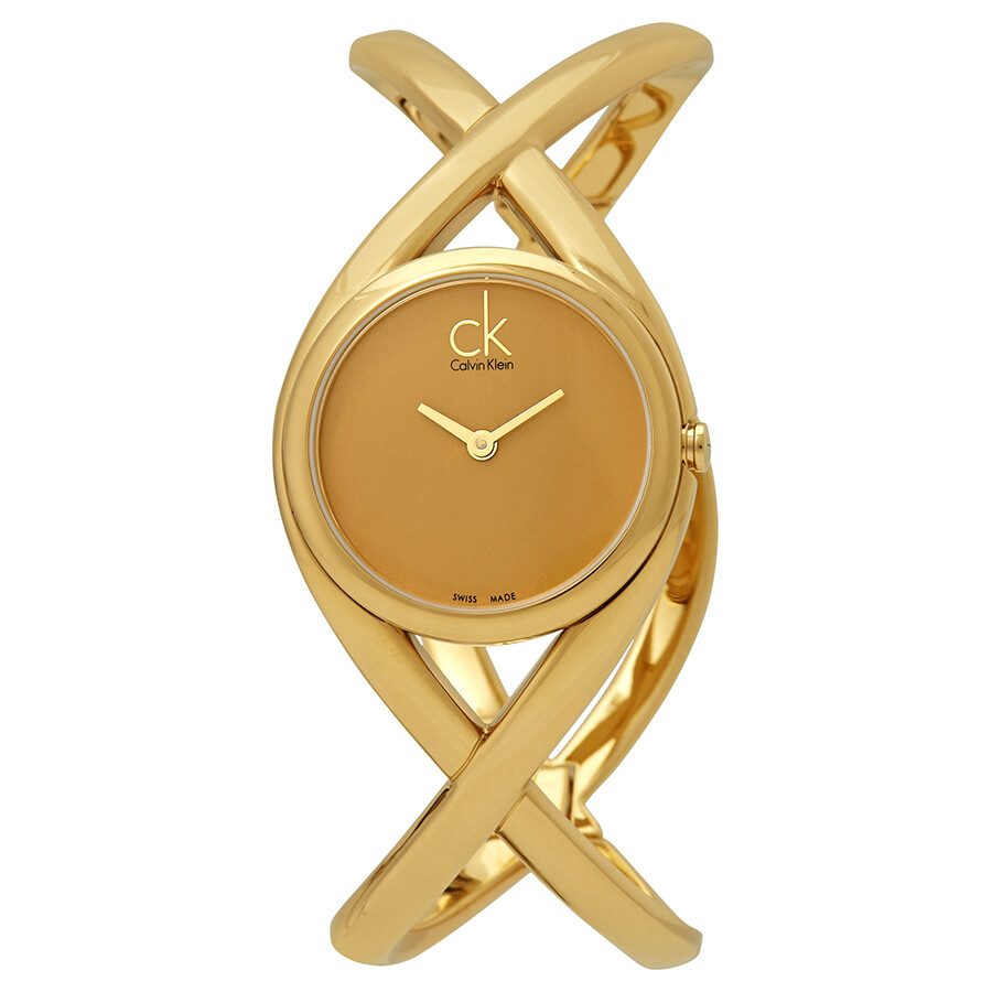 calvin klein female calvin klein enlace gold dial ladies watch k2l23509