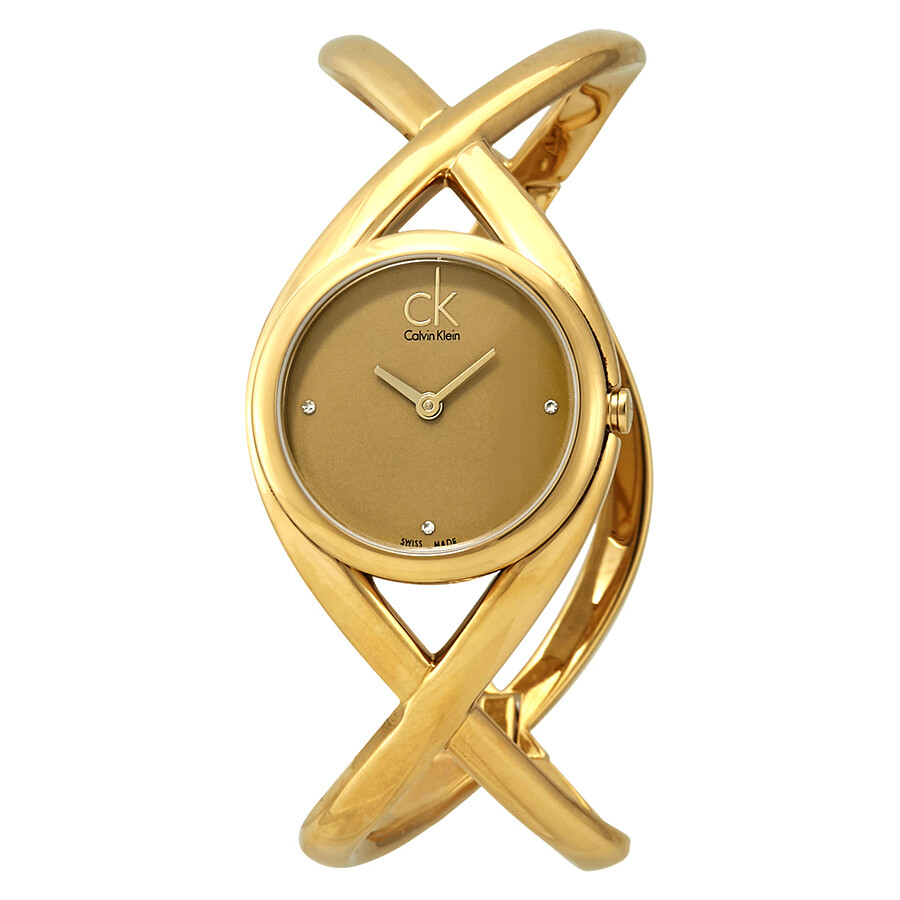 Calvin Klein Enlace Gold Dial Ladies Watch K2L23513