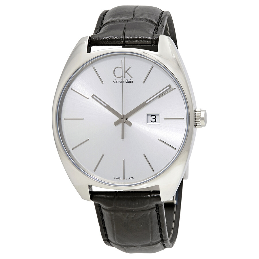 calvin klein male calvin klein exchange silver dial black leather mens watch k2f21120