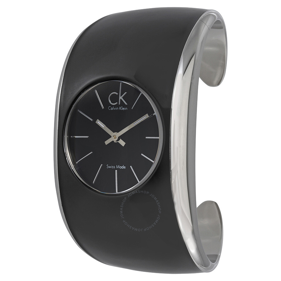 Calvin Klein Gloss Black Enamel Dial Ladies Bangle Watch K6095101
