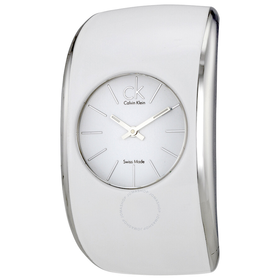 Calvin Klein Gloss White Enamel Dial Ladies XS Bangle Watch K6005101