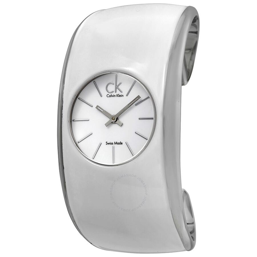 Calvin Klein Gloss White Enamel Dial Large Cuff Ladies Watch K6003101