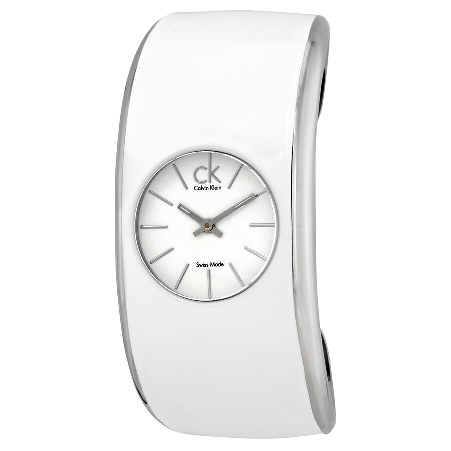 Calvin Klein Gloss White Enamel Dial Medium Cuff Ladies Watch K6002101