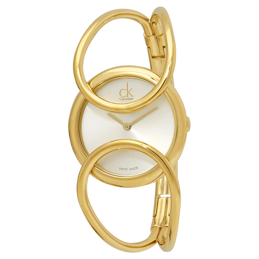 Calvin Klein Inclined Silver Dial Gold-tone Ladies Watch K4C2S516