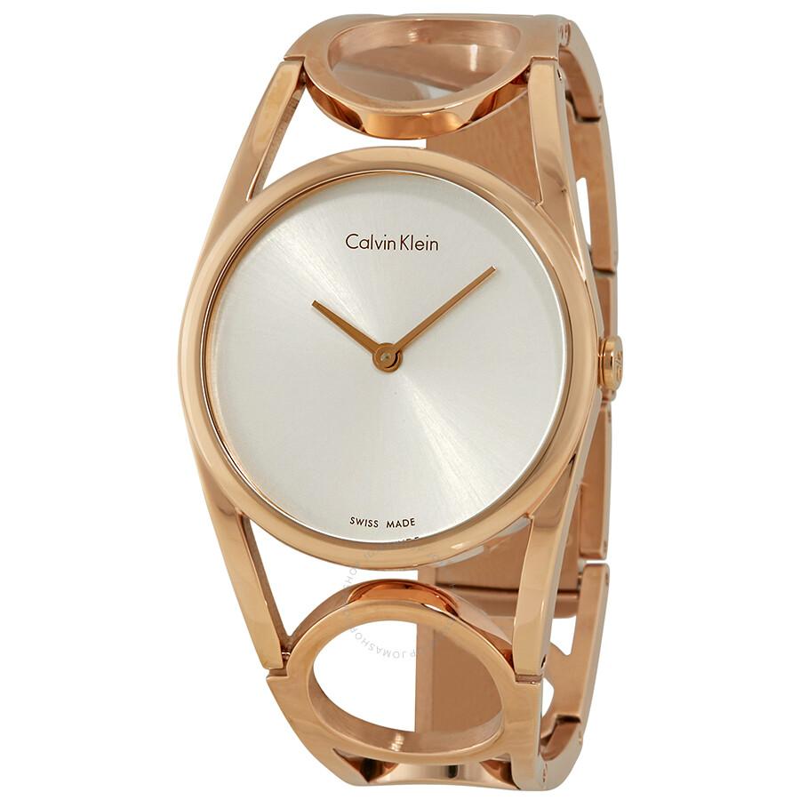 Calvin Klein Round Silver Dial Rose Gold PVD Ladies Watch K5U2S646