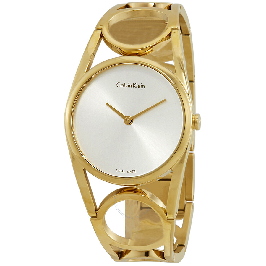 Calvin Klein Round Silver Dial Yellow Gold PVD Ladies Watch K5U2M546