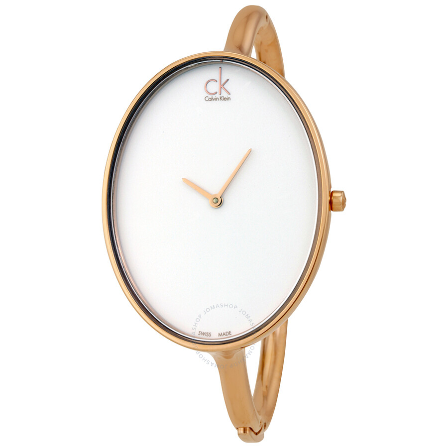 Calvin Klein Sartoria White Dial Rose Gold-tone Ladies Watch K3D2S616