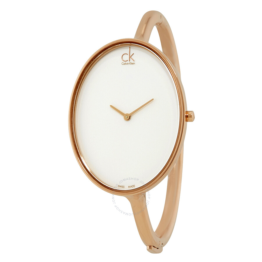Calvin Klein Sartorially White Dial Bangle Ladies Watch K3D2M616
