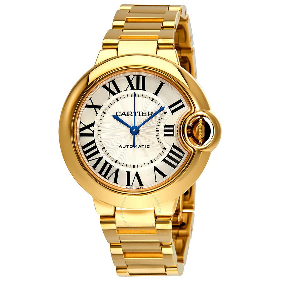 Cartier Ballon Bleu de Cartier 18k Yellow Gold Silvered Opaline Dial Ladies Watch WGBB0005