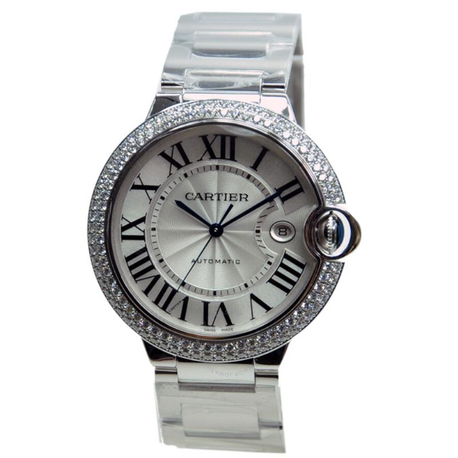 Cartier Ballon Bleu Silver Dial 18kt White Gold Mens Watch WE9009Z3