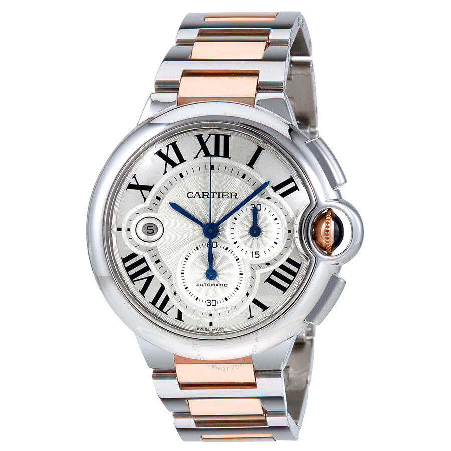 Cartier Ballon Bleu Silvered Guilloche Dial Mens Watch W6920075