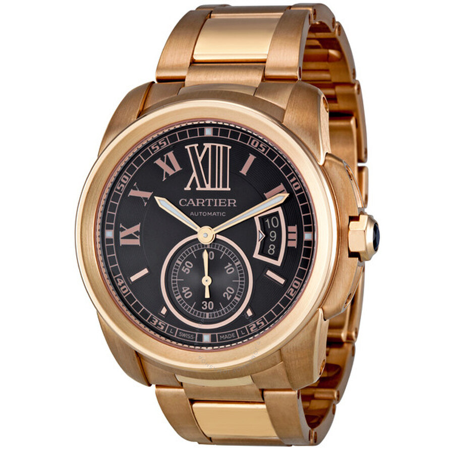 Cartier Calibre de Cartier Brown Dial 18kt Rose Gold Mens Watch W7100040