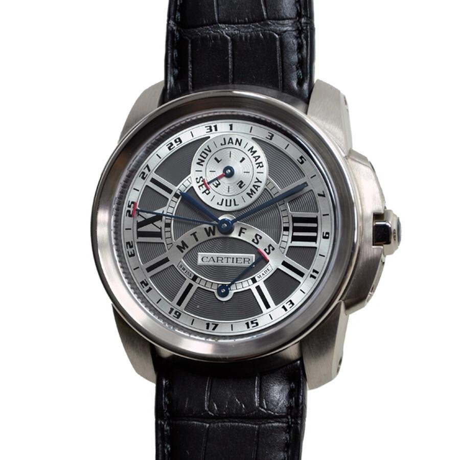 Cartier Calibre de Cartier Perpetual Calendar 18 kt White Gold Mens Watch W7100030