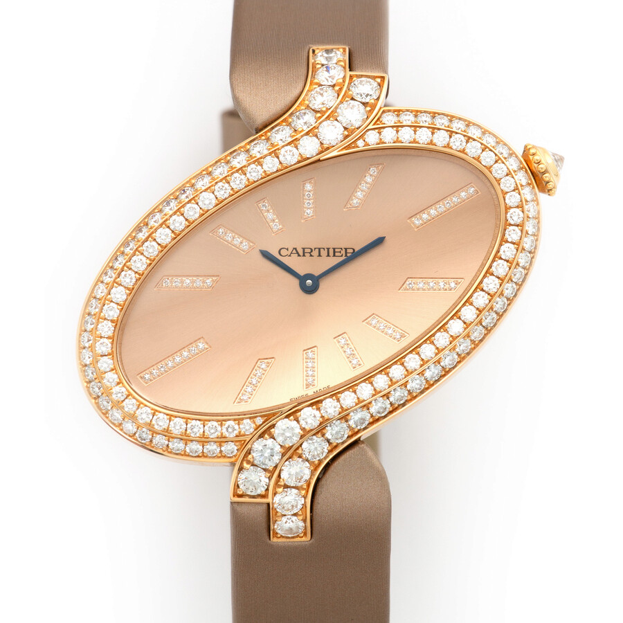 Cartier Delices Brushed Pink Gold Dial Ladies Watch WG800020