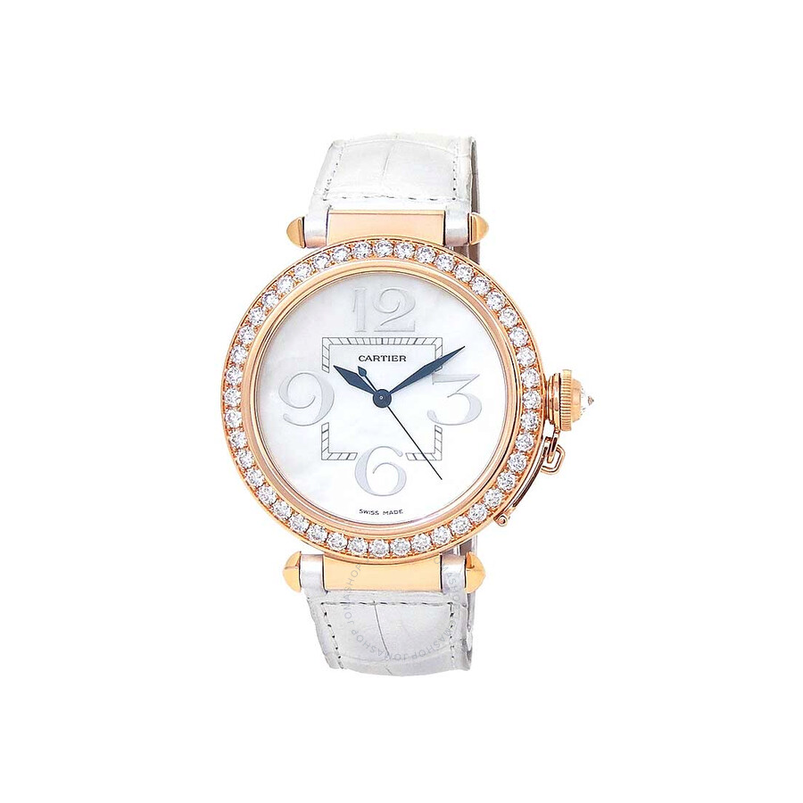 Cartier Pasha Mother of Pearl 18kt Rose Gold White Leather Ladies Watch WJ124005