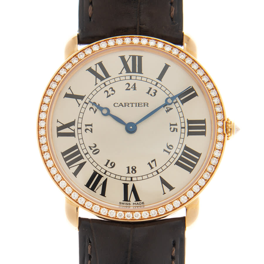 Cartier Ronde Louis Cartier Diamond Bezel Silver Dial 18 kt Rose Gold Ladies Watch WR000651