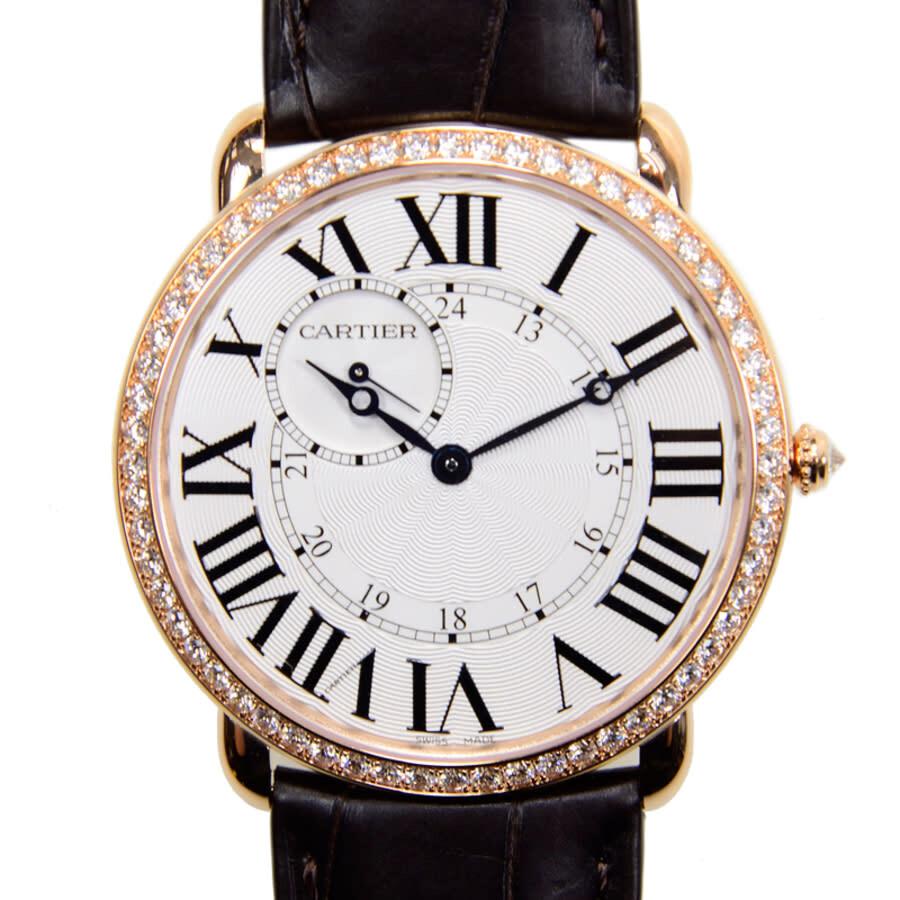 Cartier Ronde Louis Cartier Diamond Bezel Silver Dial 18 kt Rose Gold Mens Watch WR007001