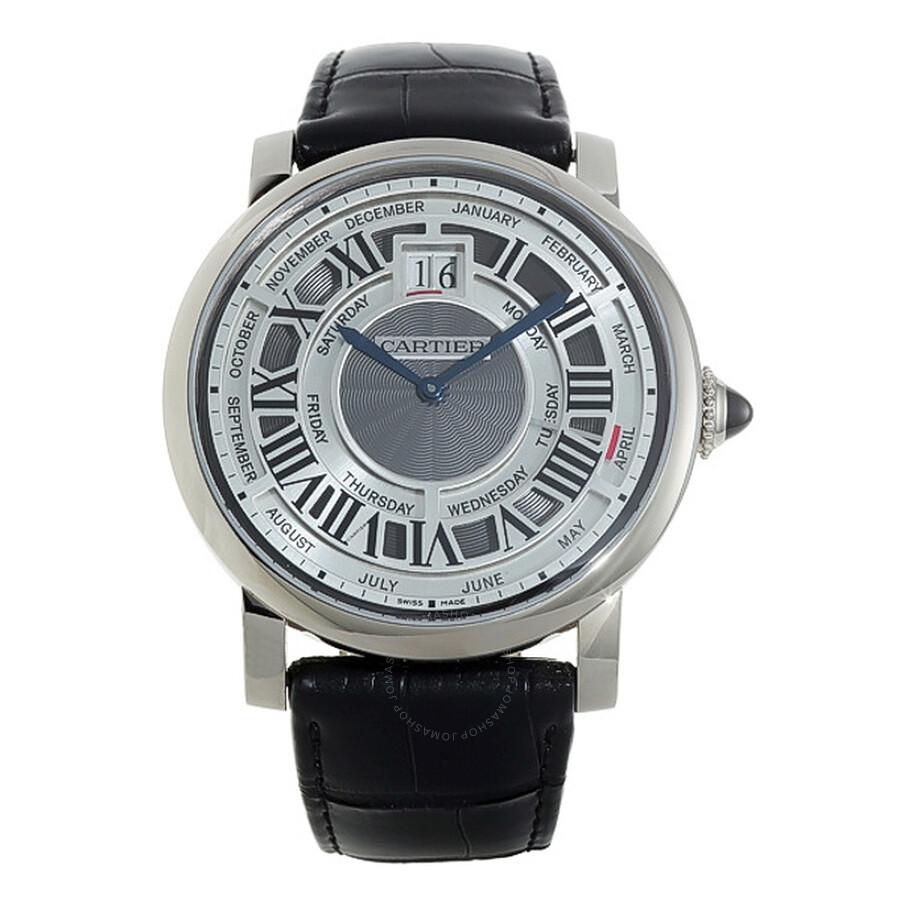 Cartier Rotonde de Cartier Perpetual Calendar Automatic 18 kt White Gold Mens Watch W1580002