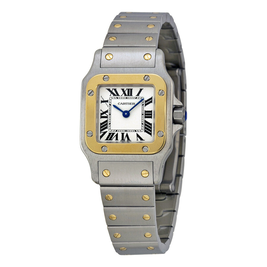 tone en large watches pre silver luxury cartier lxrandco steel santos galbee vintage us owned stainless