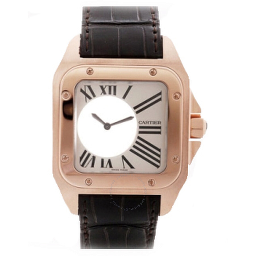 Cartier Santos Mysterieuse 18k Rose Gold and Alligator Leather Unisex Watch W20115Y1