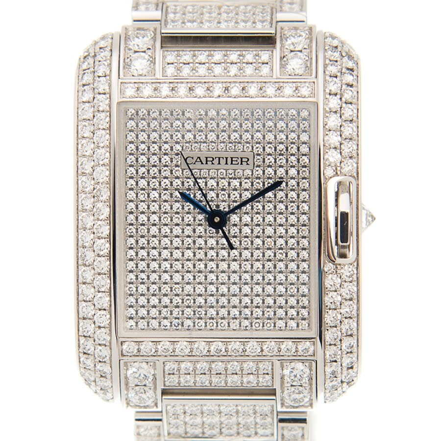 Cartier Tank Anglaise Diamond Pave 18kt White Gold Automatic Mens Watch HPI00561