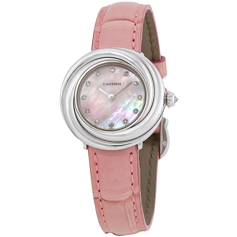 Cartier Trinity Pink Mother of Pearl Diamond Dial 18Kt White Gold Patent Lea..