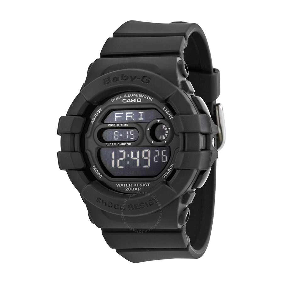 Casio baby g digital dial black resin ladies watch bgd140 1acr baby g casio watches jomashop for Black resin ladies watch