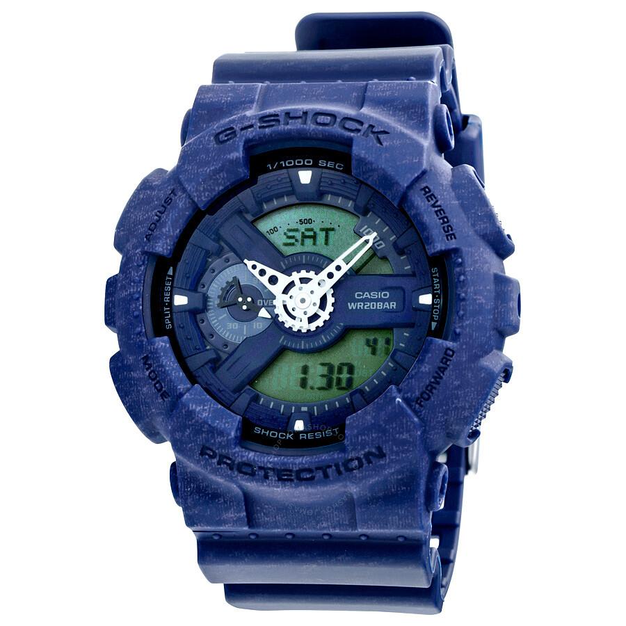 Casio G-Shock Analog Digital Blue Heather Pattern Resin Mens Watch GA110HT-2A