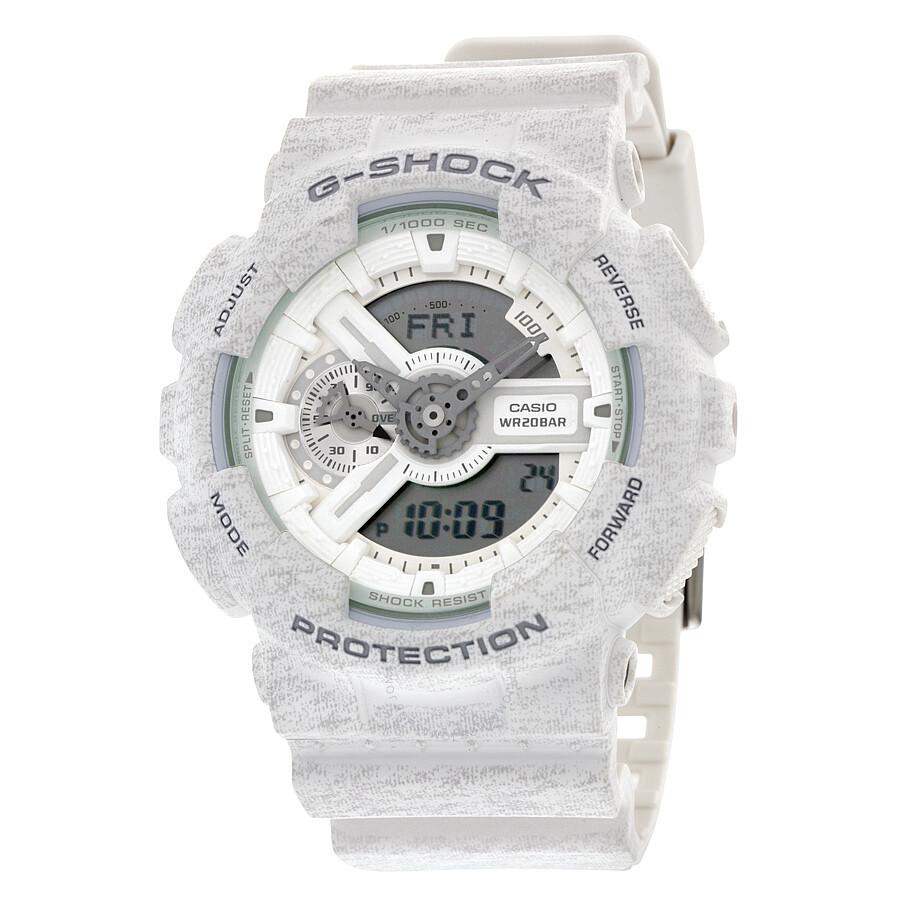 Casio G-Shock Analog-Digital White Heather Pattern Resin Mens Watch GA110HT-7A