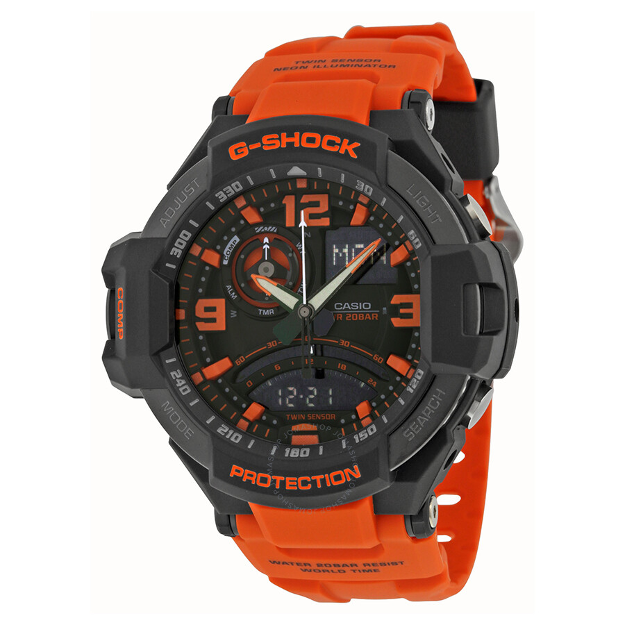 Casio G Shock Aviation Black and Orange Dial Orange Resin Mens Watch GA1000-4ACR
