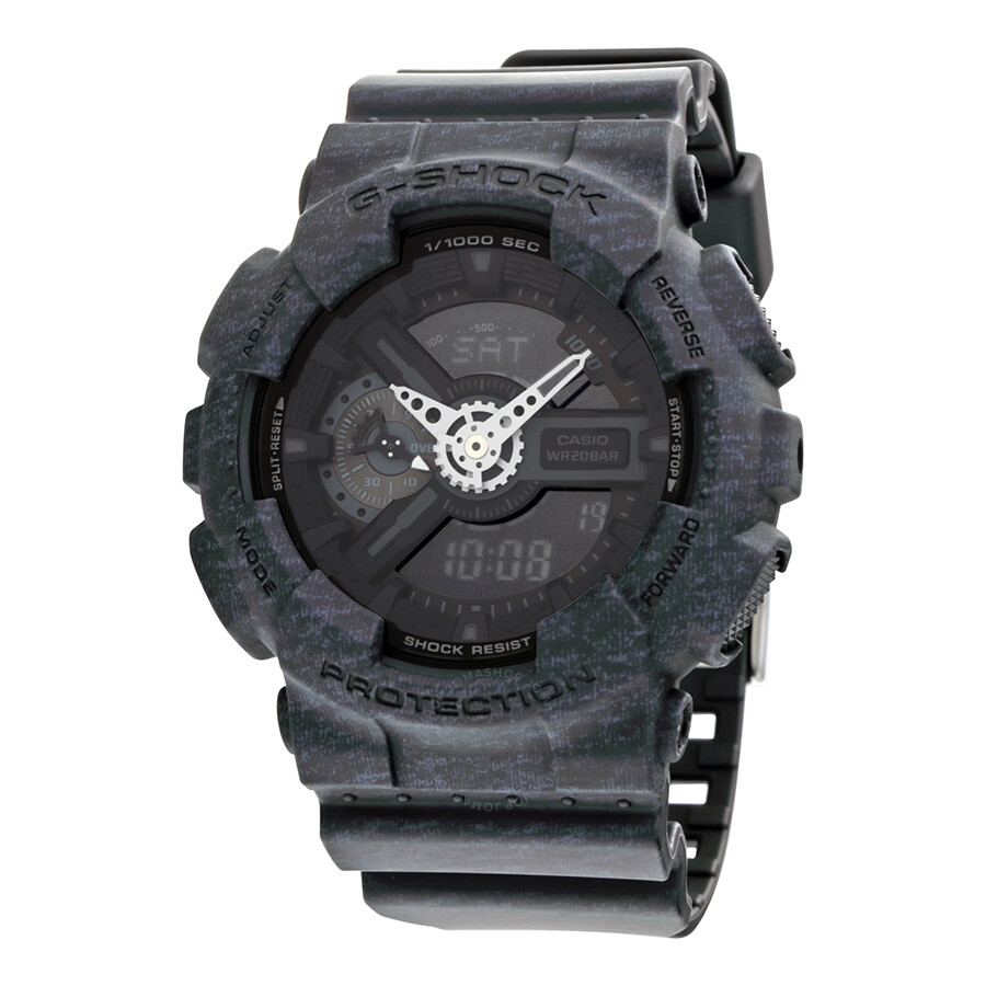Casio G-Shock Black Analog-Digital Dial Heather Pattern Resin Mens Watch GA110HT-1A