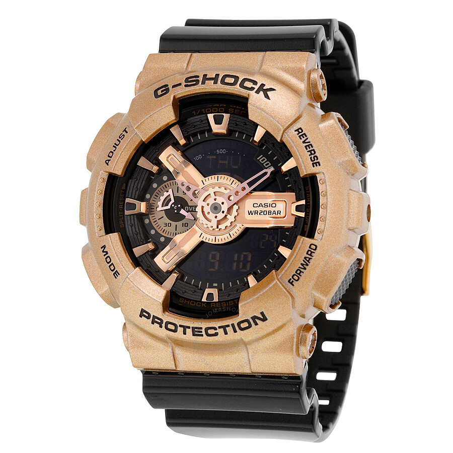 Casio G-Shock Black Dial Rose Gold-Colored and Black Resin Mens Watch GA110GD-9B2