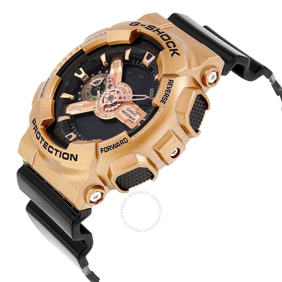 Casio G Shock Black Dial Rose Gold Colored And Black Resin Mens