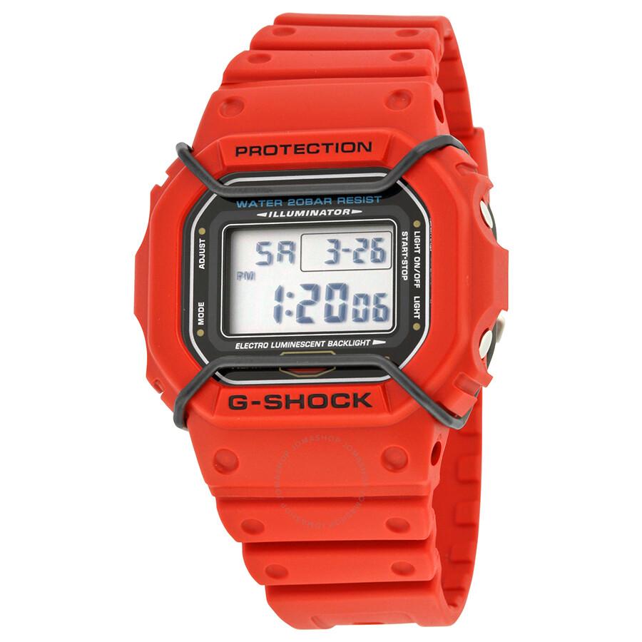 Casio G-Shock Digital Dial Red Resin Mens Watch DW5600P-4