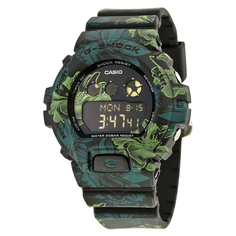 Casio G-Shock Green Floral Resin Mens Watch GMDS-6900F-1