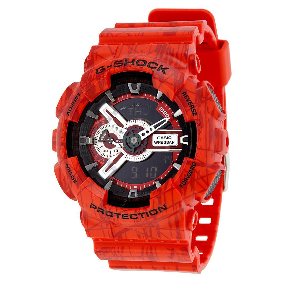 Casio G-Shock Quartz Red Analog Resin Strap Mens Watch GA110SL-4A