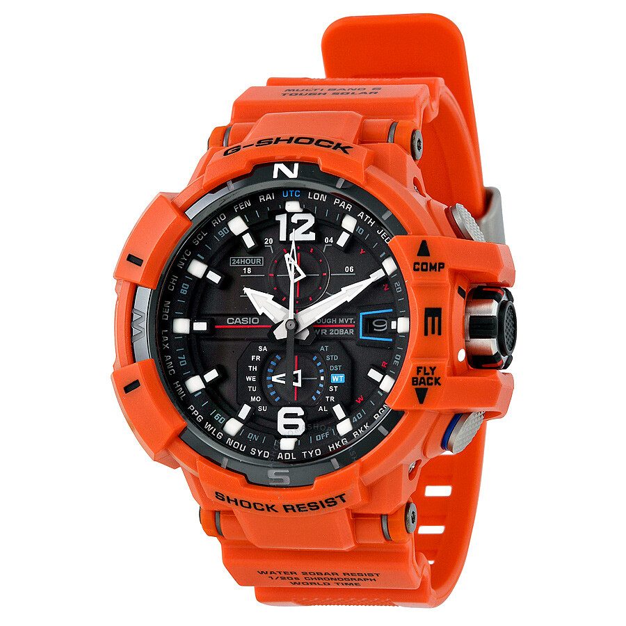 Casio Gravitymaster Black Dial Orange Band Mens Watch GWA1100R-4ACR