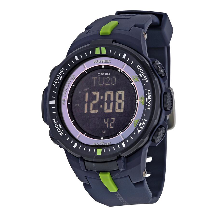 Casio Pro Trek Black Dial Resin Multi-function Mens Watch PRW3000-2CR
