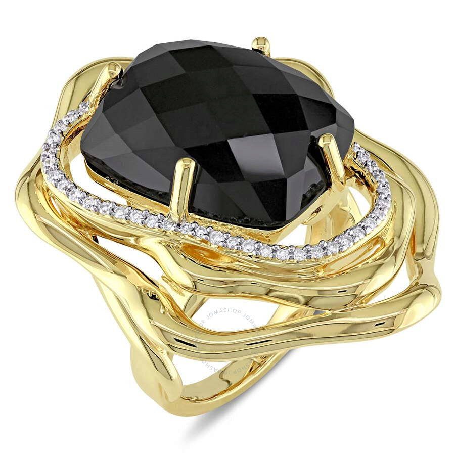 Catherine Malandrino Black Agate and Diamond Cocktail Ring - Size 6