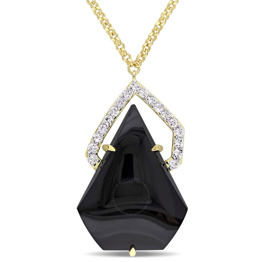 Catherine Malandrino Black Agate and White Sapphire Necklace