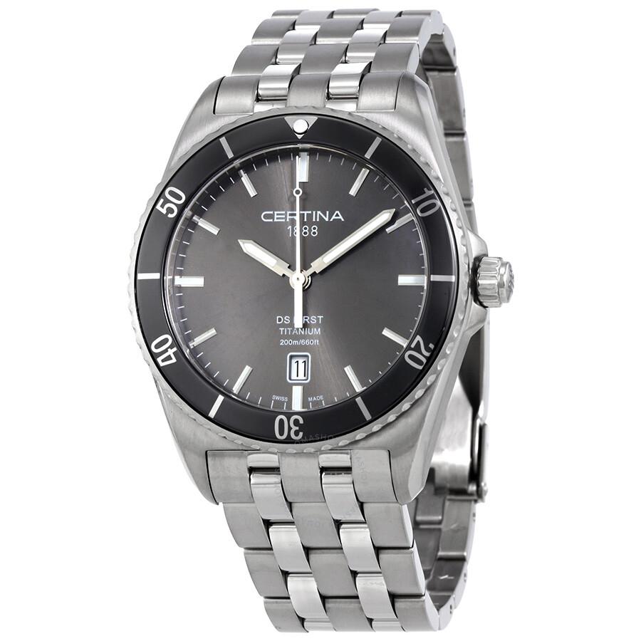 Certina DS First Ceramic  Stainless Steel  Mens Quartz Watch C0144104408100
